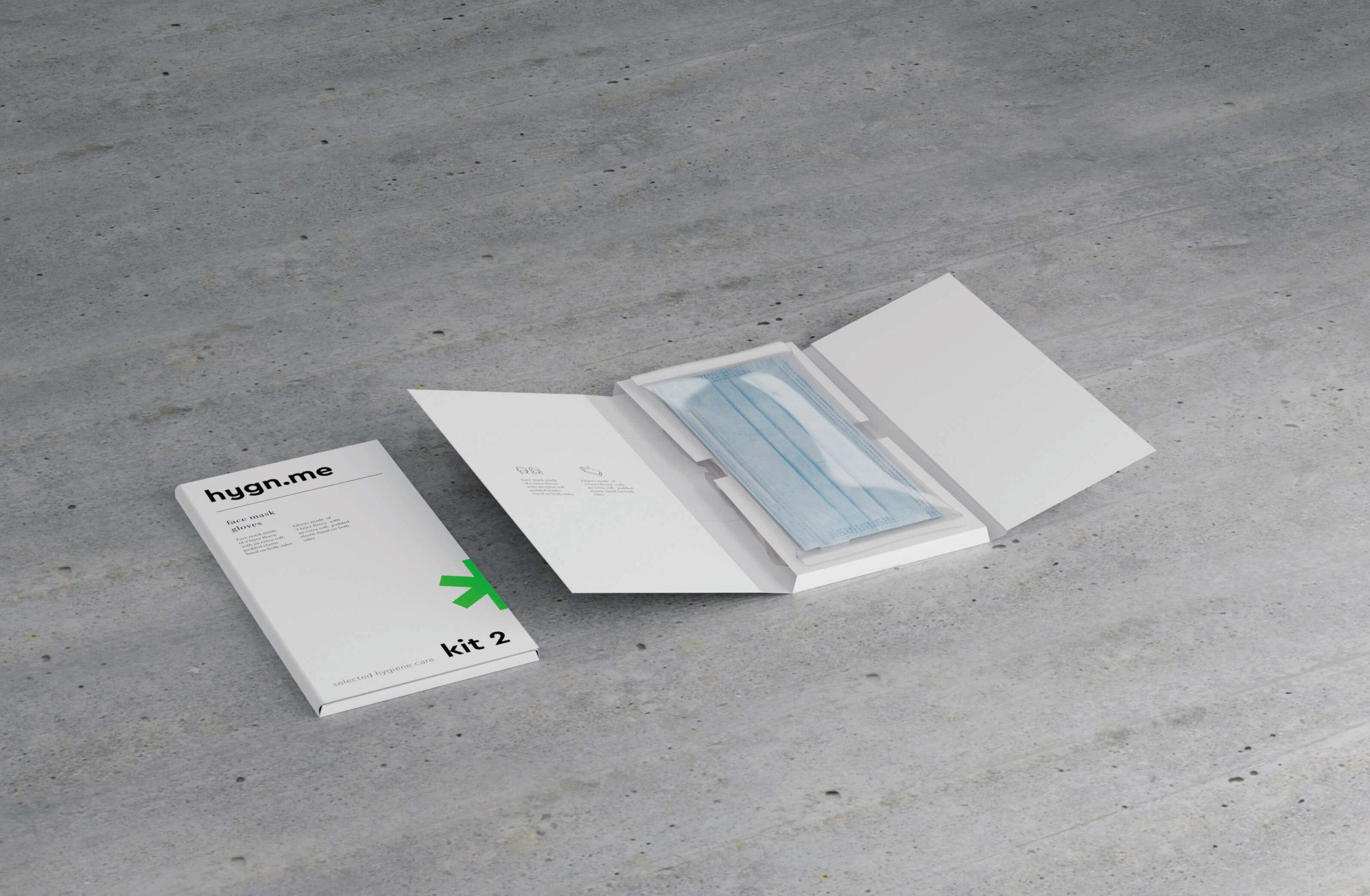 Design Hygienestationen und Desinfektionsspender: hygn.me Kit 2 Hygienekit mit Produkten zur Hygiene und Pflege zum Mitnehmen oder Vergeben an Gäste und Kunden