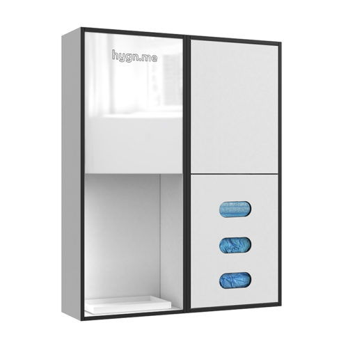 Design Hygienestationen und Desinfektionsspender: hygn.me Station 2 wall dispenser sanitary Hygienestation zur Wandmontage in weiß mit Spiegel, Sensor zur kontaktlosen Desinfektion der Hände und Fächern zur Entnahme von Hygieneartikeln