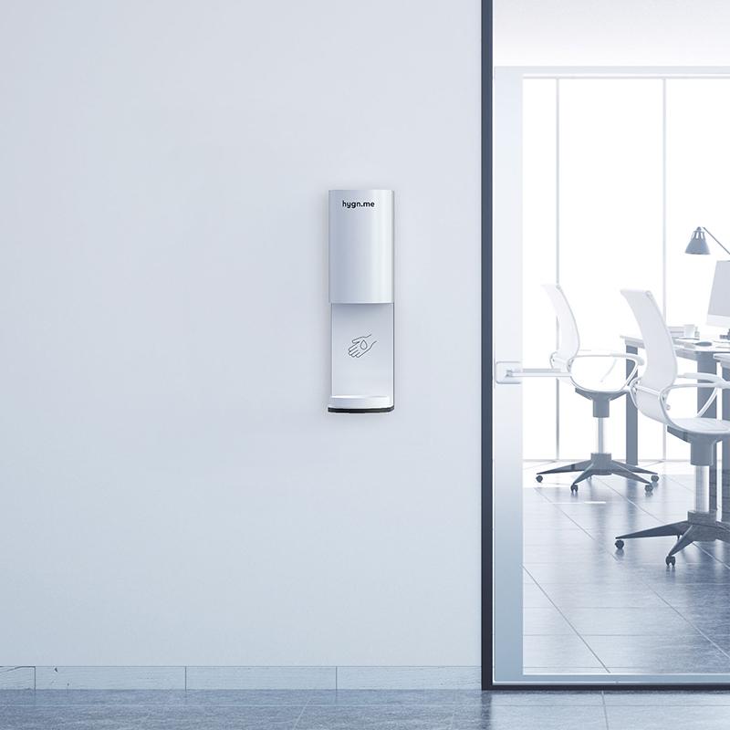 Design Hygienestationen und Desinfektionsspender: hygn.me Station 3 wall Desinfektionsspender zur Wandmontage in weiß mit Sensor zur kontaktlosen Desinfektion der Hände