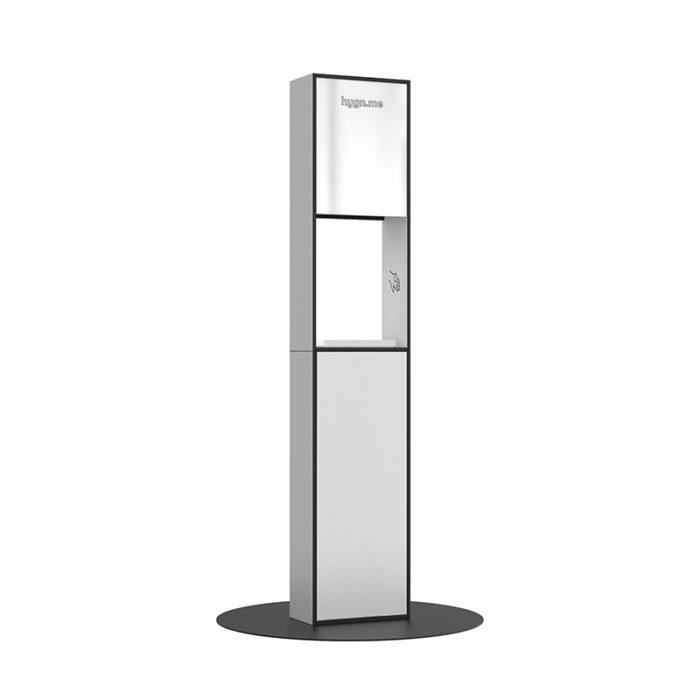 Design Hygienestationen und Desinfektionsspender: hygn.me Station 2 column dispenser storage Desinfektionsspender freistehend in weiß mit Spiegel, Sensor zur kontaktlosen Desinfektion der Hände und Stauraum im unteren Teil
