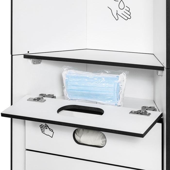 Design Hygienestationen und Desinfektionsspender: hygn.me Station 1 Fächer zur Entnahme von Hygieneartikeln im Detail, geöffnet zum neu auffüllen
