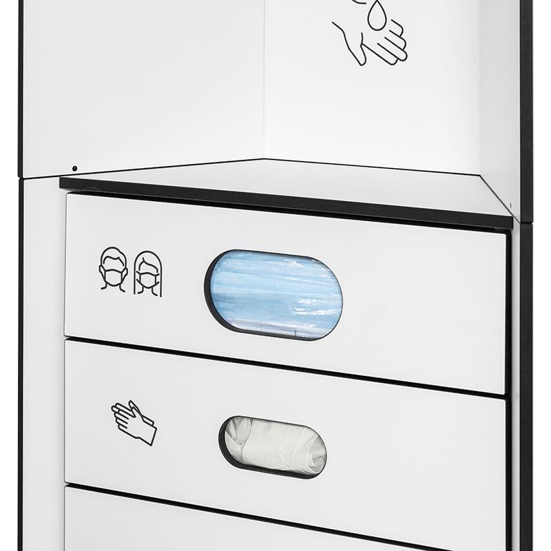 Design Hygienestationen und Desinfektionsspender: hygn.me Station 1 Fächer zur Entnahme von Hygieneartikeln im Detail