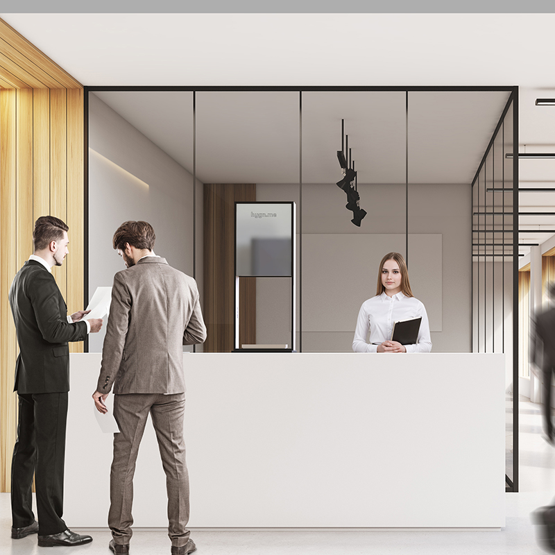 Design Hygienestationen und Desinfektionsspender: hygn.me Station 2 table dispenser Desinfektionsspender zum Aufstellen auf Tischen und Tresen in weiß mit Spiegel und Sensor zur kontaktlosen Desinfektion der Hände