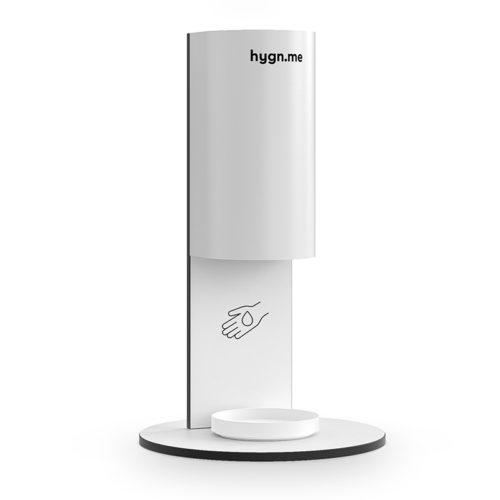 Design Hygienestationen und Desinfektionsspender: hygn.me Station 3 desk Desinfektionsstation zum Aufstellen auf Tischen und Tresen in weiß mit Sensor zur kontaktlosen Desinfektion der Hände