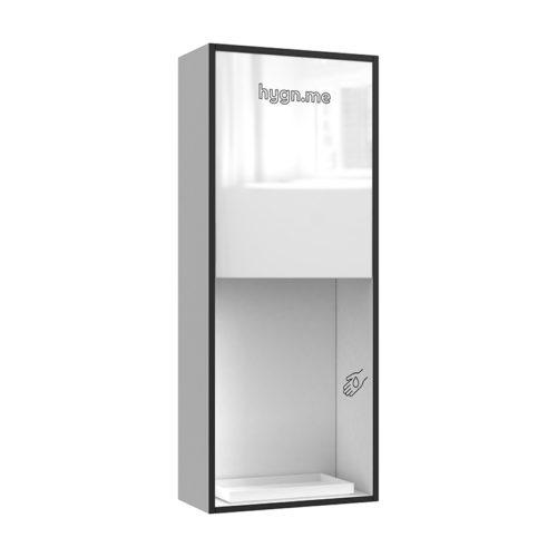 Design Hygienestationen und Desinfektionsspender: hygn.me Station 2 wall dispenser Hygienestation zur Wandmontage in weiß mit Spiegel und Sensor zur kontaktlosen Desinfektion der Hände