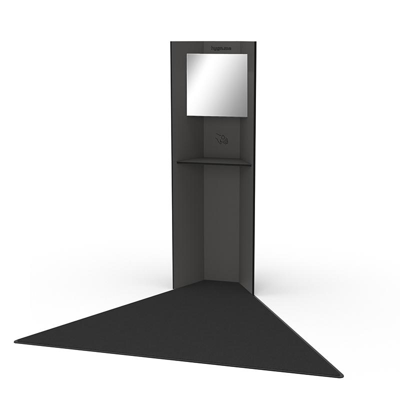 Design Hygienestationen und Desinfektionsspender: hygn.me Station 1 Hygienestation freistehend in anthrazit mit Spiegel und Sensor zur kontaktlosen Desinfektion der Hände