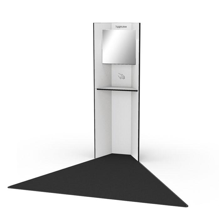 Design Hygienestationen und Desinfektionsspender: hygn.me Station 1 Hygienestation freistehend in weiß mit Spiegel und Sensor zur kontaktlosen Desinfektion der Hände
