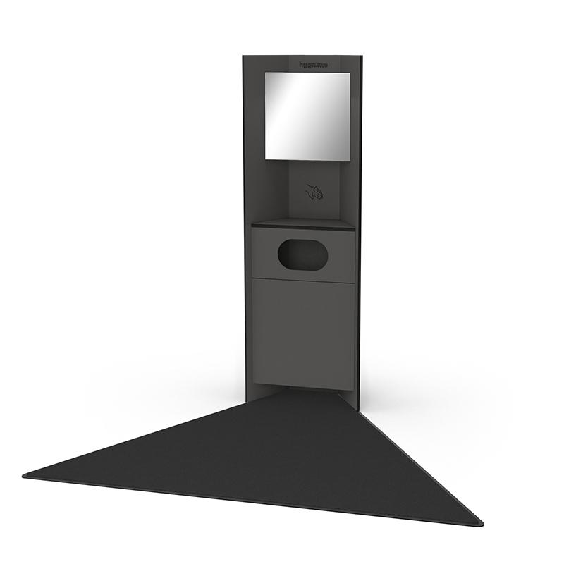 Design Hygienestationen und Desinfektionsspender: hygn.me Station 1 recycling Hygienestation freistehend in anthrazit mit Spiegel, Sensor zur kontaktlosen Desinfektion der Hände und einem Fach zum Entsorgen von gebrauchten Produkten