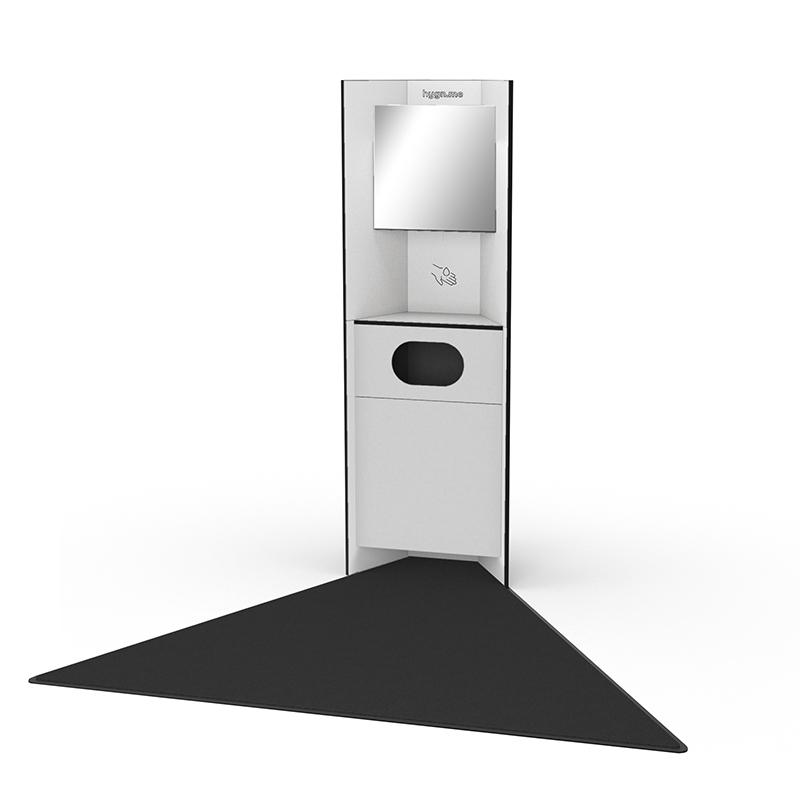 Design Hygienestationen und Desinfektionsspender: hygn.me Station 1 recycling Hygienestation freistehend in weiß mit Spiegel, Sensor zur kontaktlosen Desinfektion der Hände und einem Fach zum Entsorgen von gebrauchten Produkten