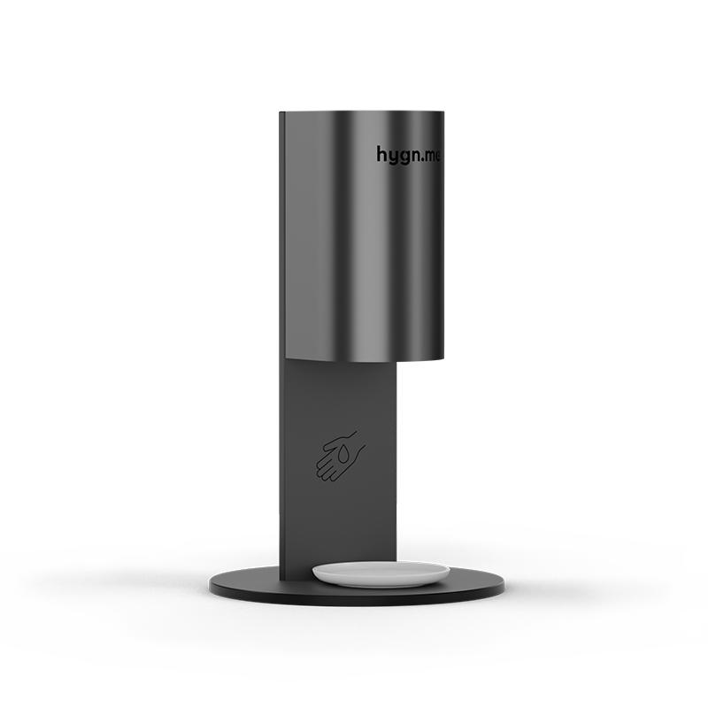 Design Hygienestationen und Desinfektionsspender: hygn.me Station 3 desk Desinfektionsstation schwarz zum Aufstellen auf Tischen und Tresen in weiß mit Sensor zur kontaktlosen Desinfektion der Hände