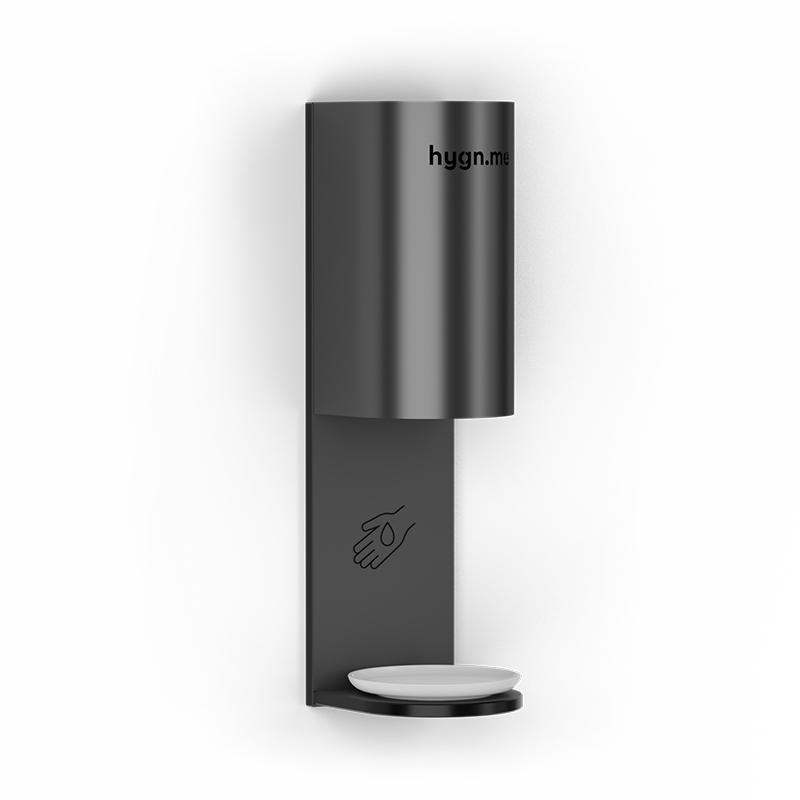 Design Hygienestationen und Desinfektionsspender: hygn.me Station 3 wall Desinfektionsspender schwarz zur Wandmontage in weiß mit Sensor zur kontaktlosen Desinfektion der Hände